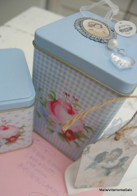 Pretty Blue Check Floral Canisters