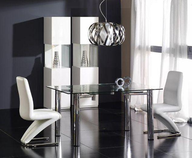 Mesa de comedor extensible rectangular de cristal Medidas 150 x 90
