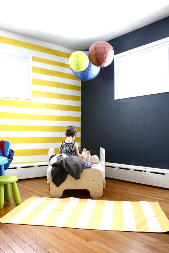 2 Of Our Favorite Things In One Room | Striped walls, Chalkboard ...