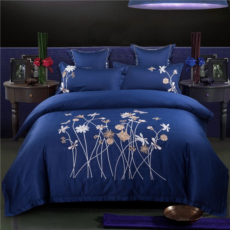 European Style Embroidery Bedding Set Queen Double King Size Bed Skirt Duvet Cover Pillowcase 4pcs Egyptian Luxury Bedding Sets Luxury Bedding Duvet Cover Sets