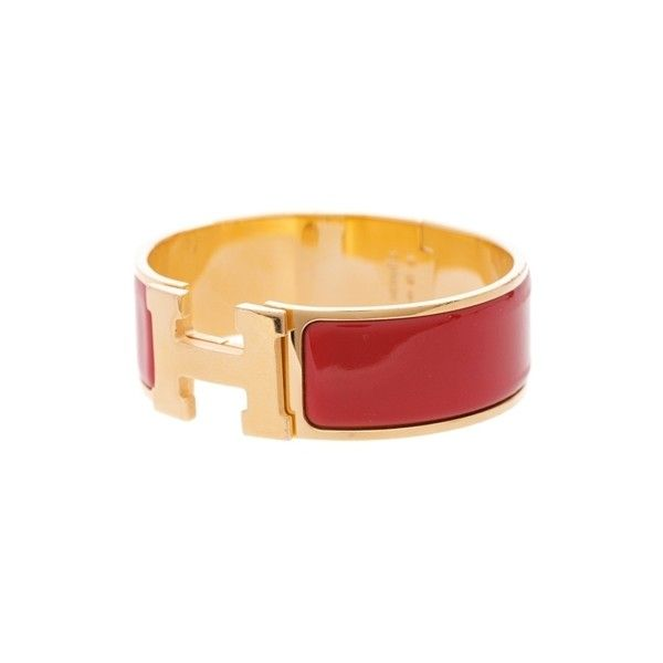Pre Owned Hermes Gold Tone Red Enamel Clic Clac H Wide Bracelet 4 745 Sek Liked On Polyvore Featuring Jewelry Bracelets