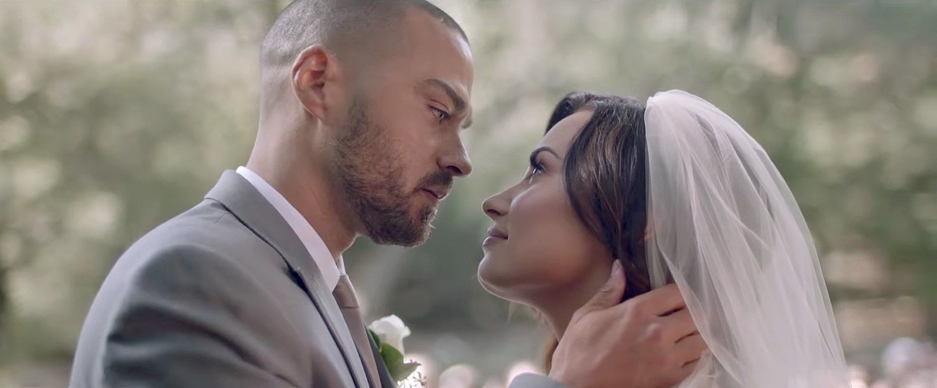 Demi Lovato Is Walking Down The Aisle In A Lazaro Wedding Dress Lazaro Wedding Dress Demi Lovato Music Video Jesse Williams