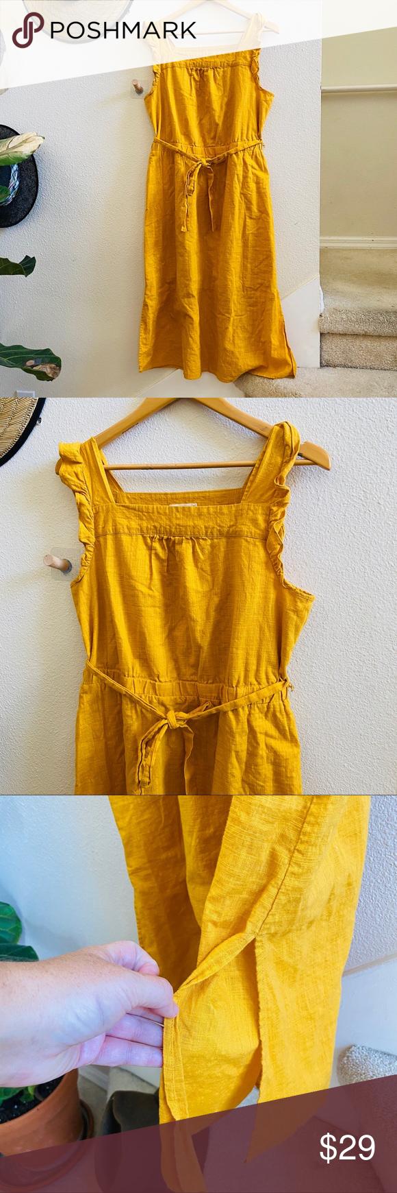 Universal Thread Womens Jumpsuit Jumper Mustard Yellow Gold Pocket Cotton Blend