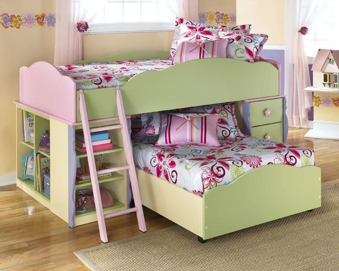 Doll House Pink Green Wood Storage Twin Loft Bunk Bed Loft Bunk