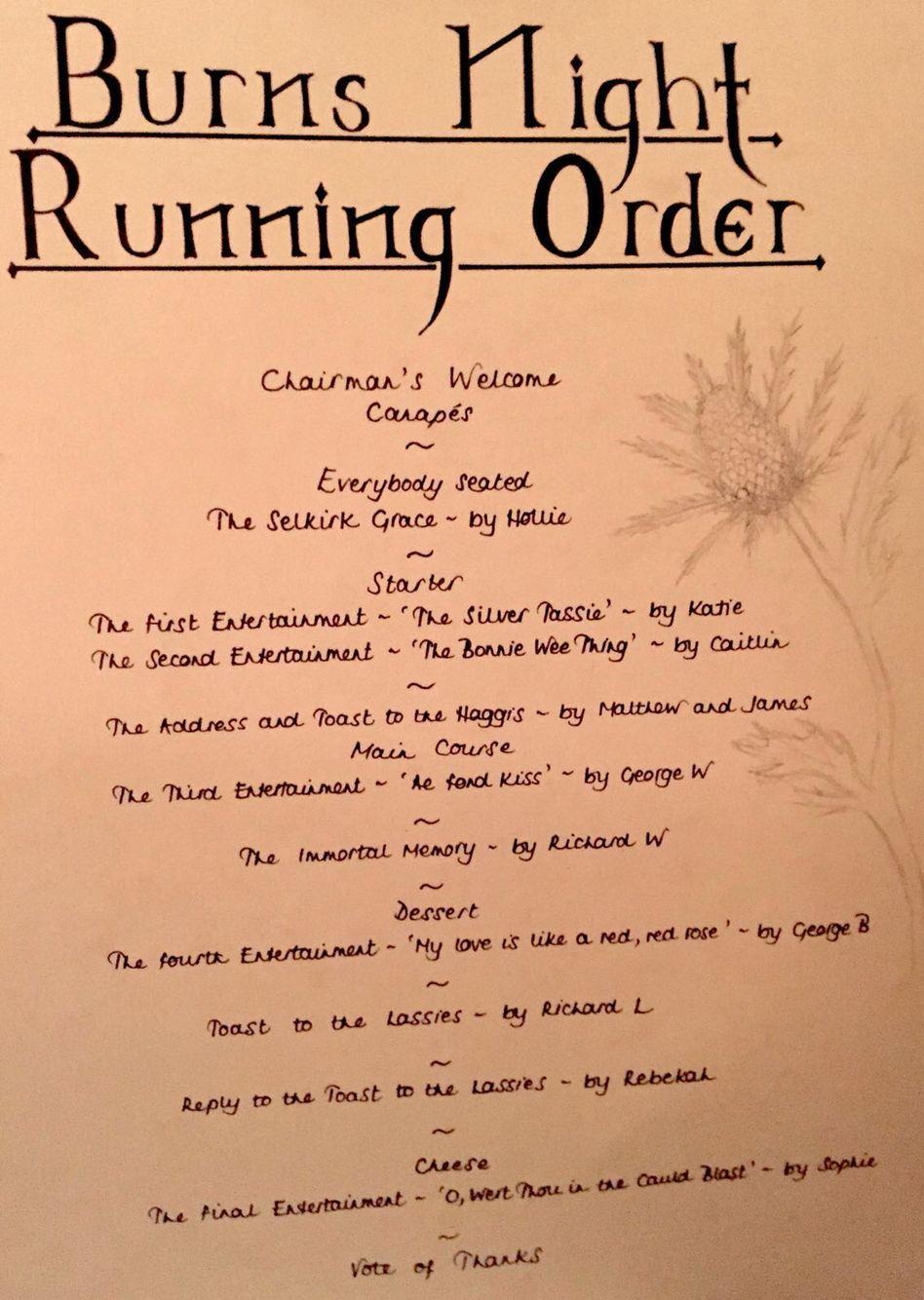 Burns Night Running Order Burns Night Recipes Burns Night