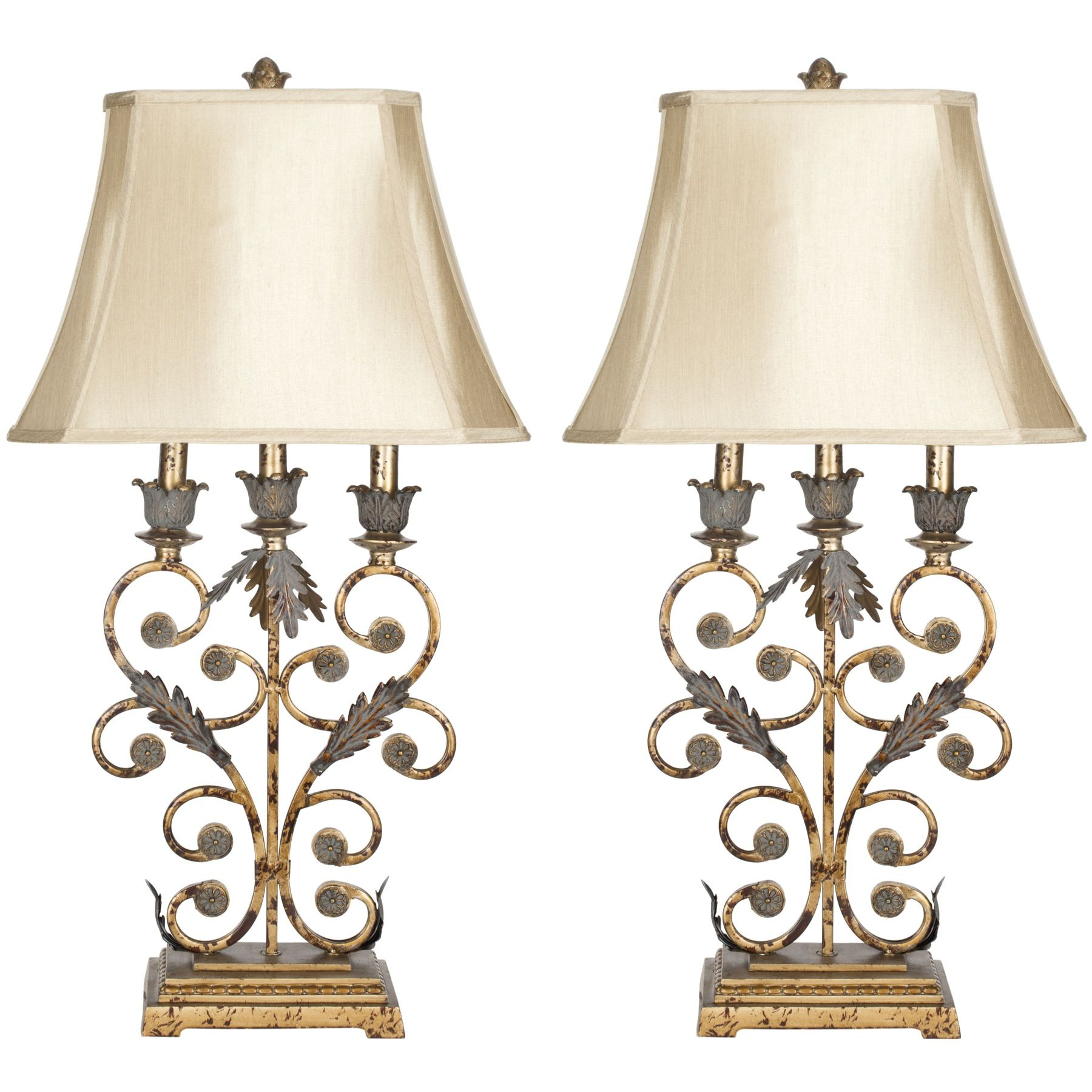 Safavieh Gold Wrought Iron Table Lamps With Beige Shades Green