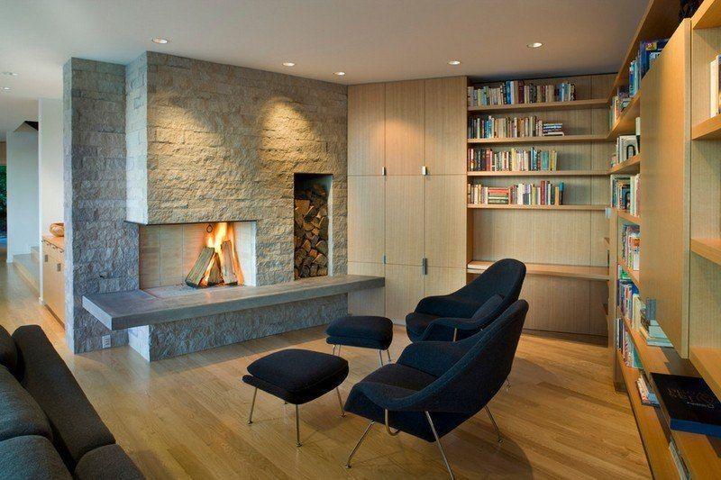 Modernes Wohnzimmer mit Natursteinwand und Holzschrank | Möbel ...