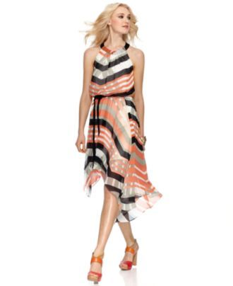 Jessica Simpson Dress, Sleeveless Belted Striped Halter #macys
