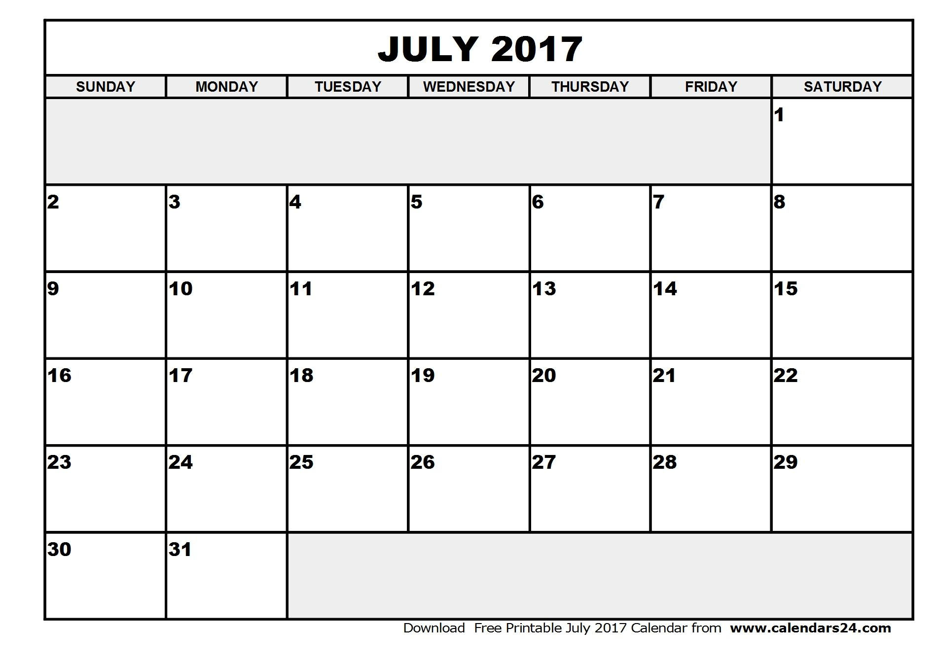 Free July Printable Calendar With Holidays