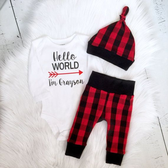 Buffalo Plaid Baby Outfit Lumberjack Baby By Pinkpineapplecouture Baby Going Home Outfit Baby Boy Fashion Plaid Baby