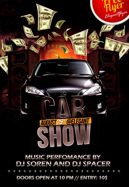 Free Car Show Party Psd Flyer Template  Animals    Psd
