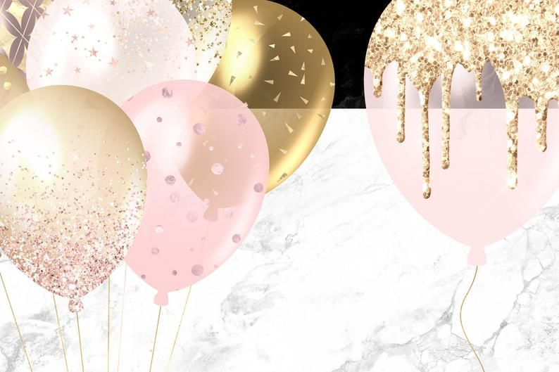 Blush And Gold Balloons Clipart Pink Glitter And Foil Etsy In 2021 Gold Balloons Balloon Clipart Balloon Design