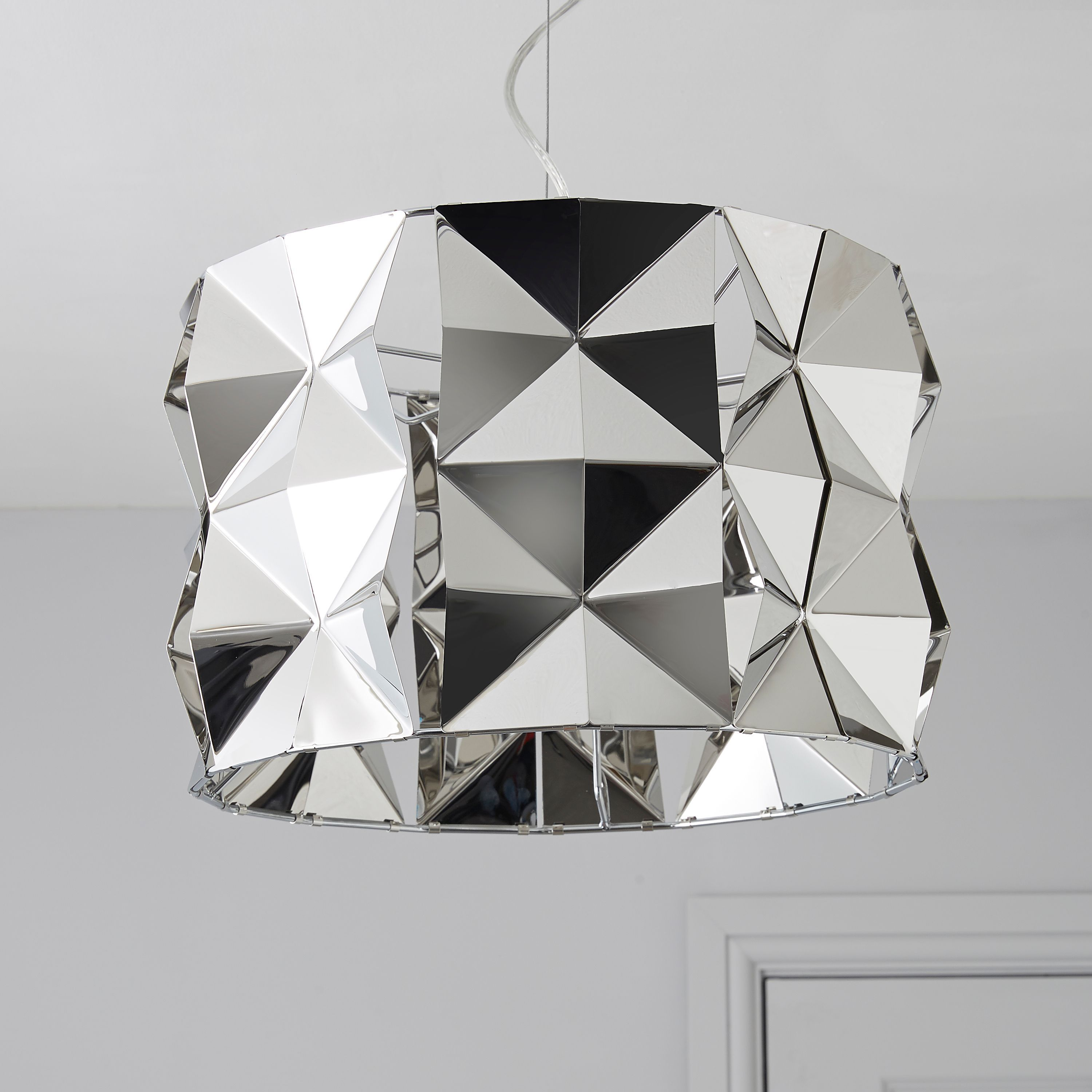 Bathroom Light Fixtures B&Q ciara faceted silver chrome effect pendant ceiling light | ceiling
