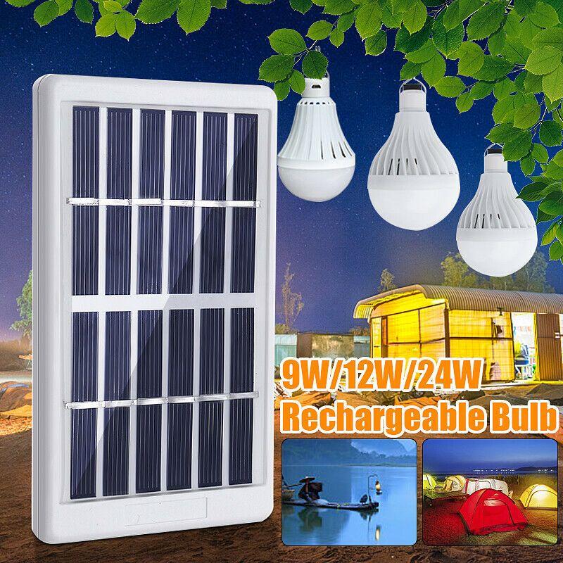 9w 12w 24w Solar Panel Power Led Bulb Light Portable Garden Outdoor Camp Lamp Solar Lamp Solarlamp Sola Solar Powered Lights Solar Lamp Solar Wall Lights