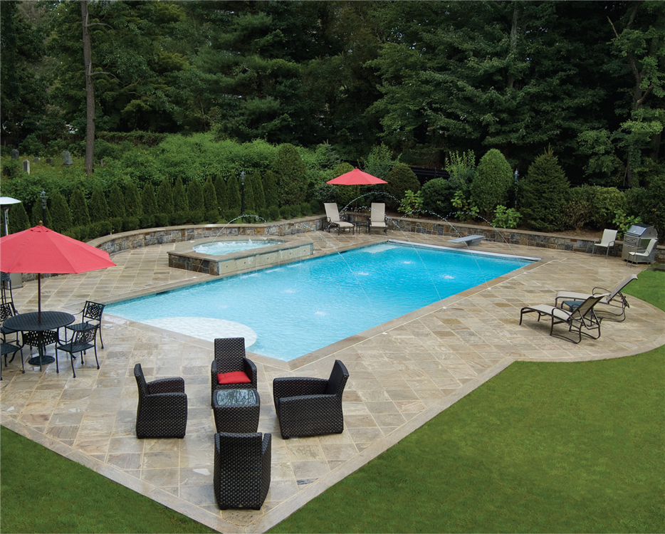 Pools nj pool builder lists 5 things to ask before for Swimming pool patio designs