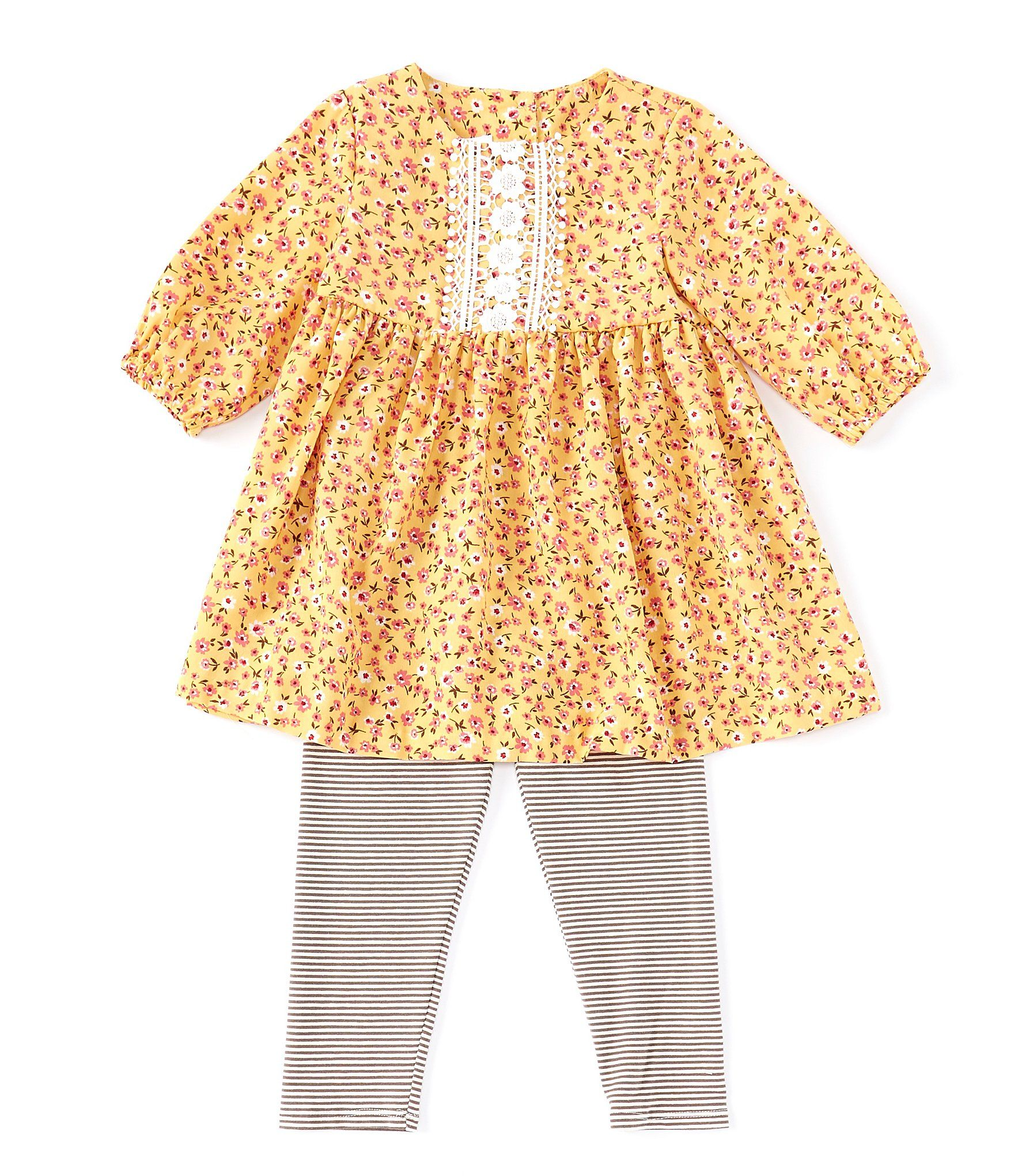 Bonnie Jean Little Girls 2T-6X Ditsy-Floral Tunic  Striped Leggings Set - Yellow 6X #stripedleggings