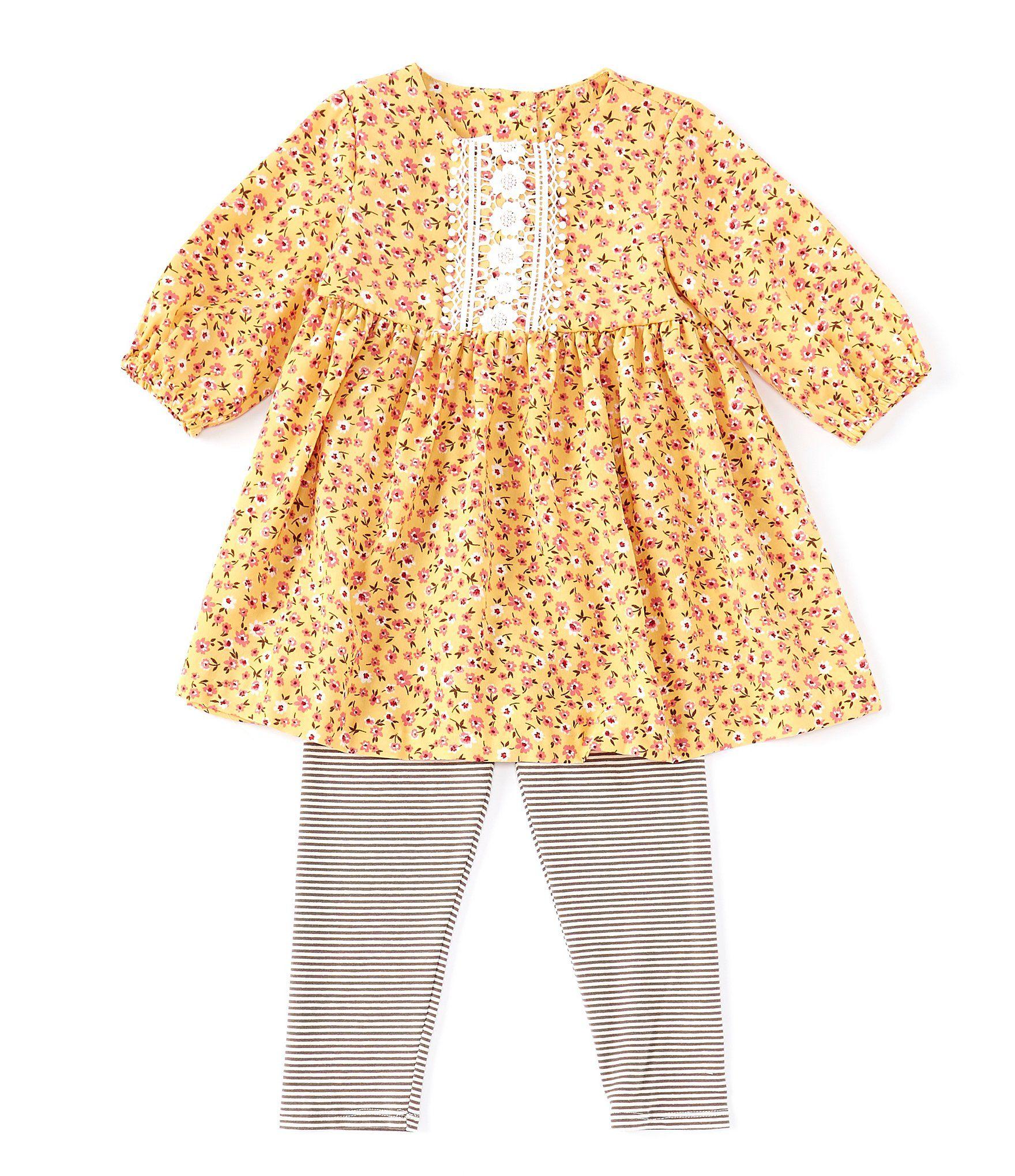 Bonnie Jean Little Girls 2T-6X Ditsy-Floral Tunic  Striped Leggings Set - Yellow 6X #stripedleggings