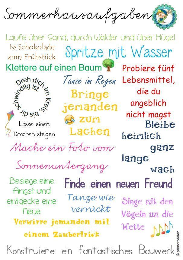 Sommerferienhausaufgaben | schule | Pinterest | Schule ...