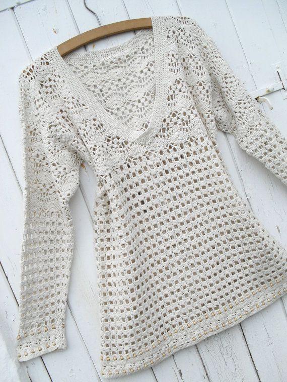 Vintage Crochet Wooden Bead Hippie Boho Top Dress 70s 80s M