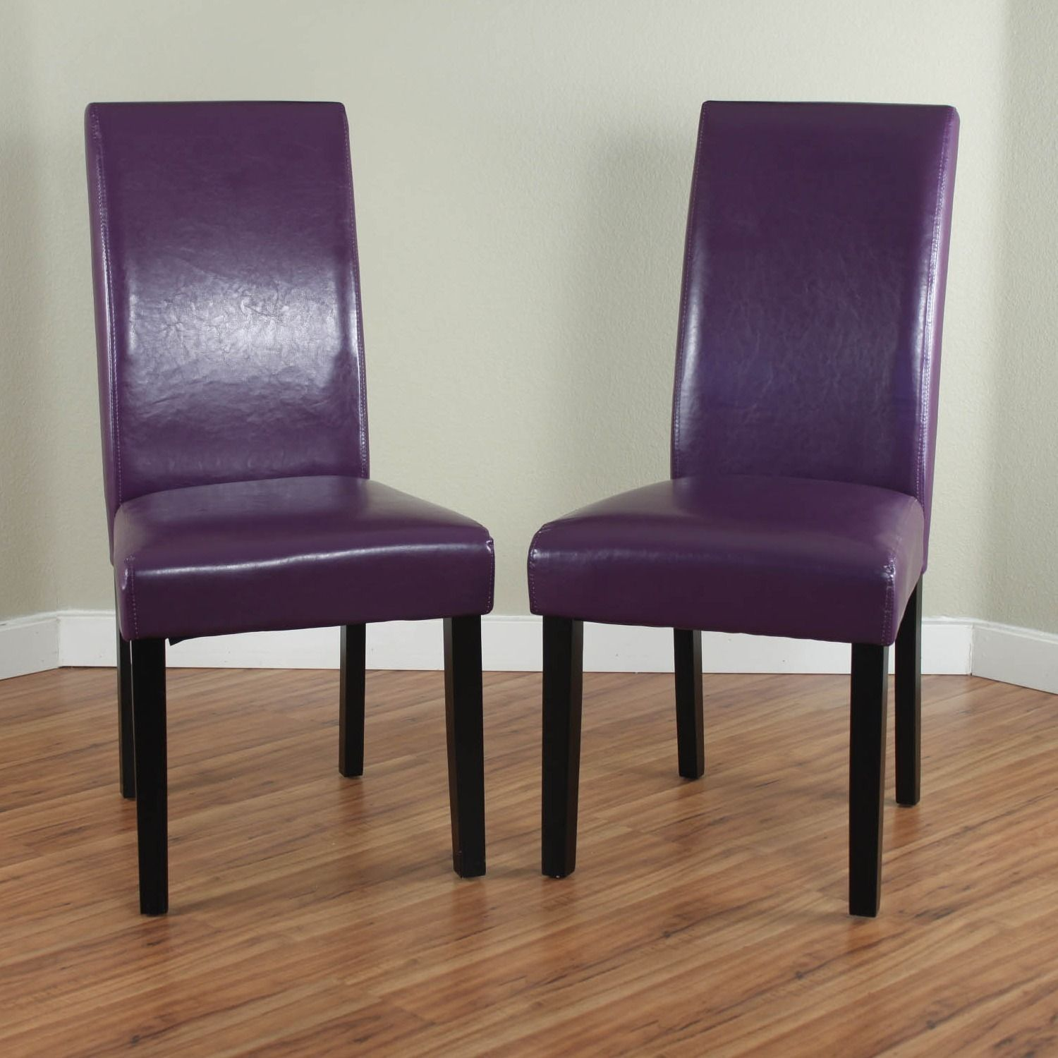 Monsoon Villa Faux Leather Boysenberry Dining Chairs Set Of 2 Purple