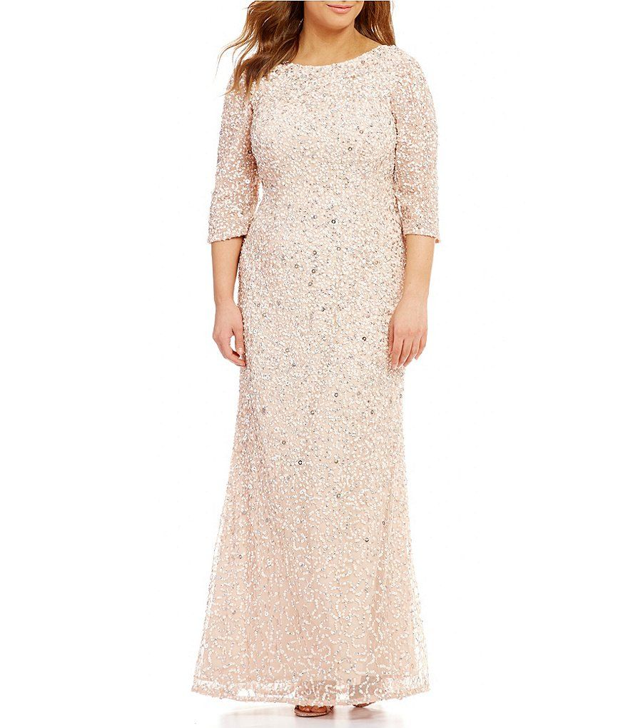 163849b66d Brianna Plus Round Neck Short Sleeve Sequined Blouson Gown ...