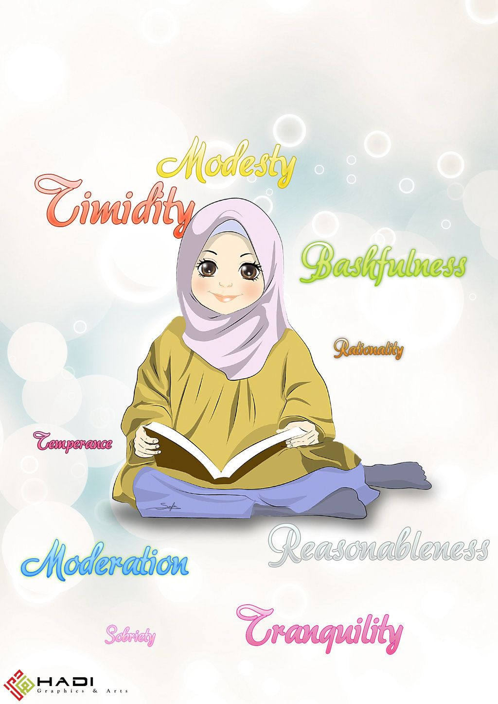 Hijabi girl reading by on