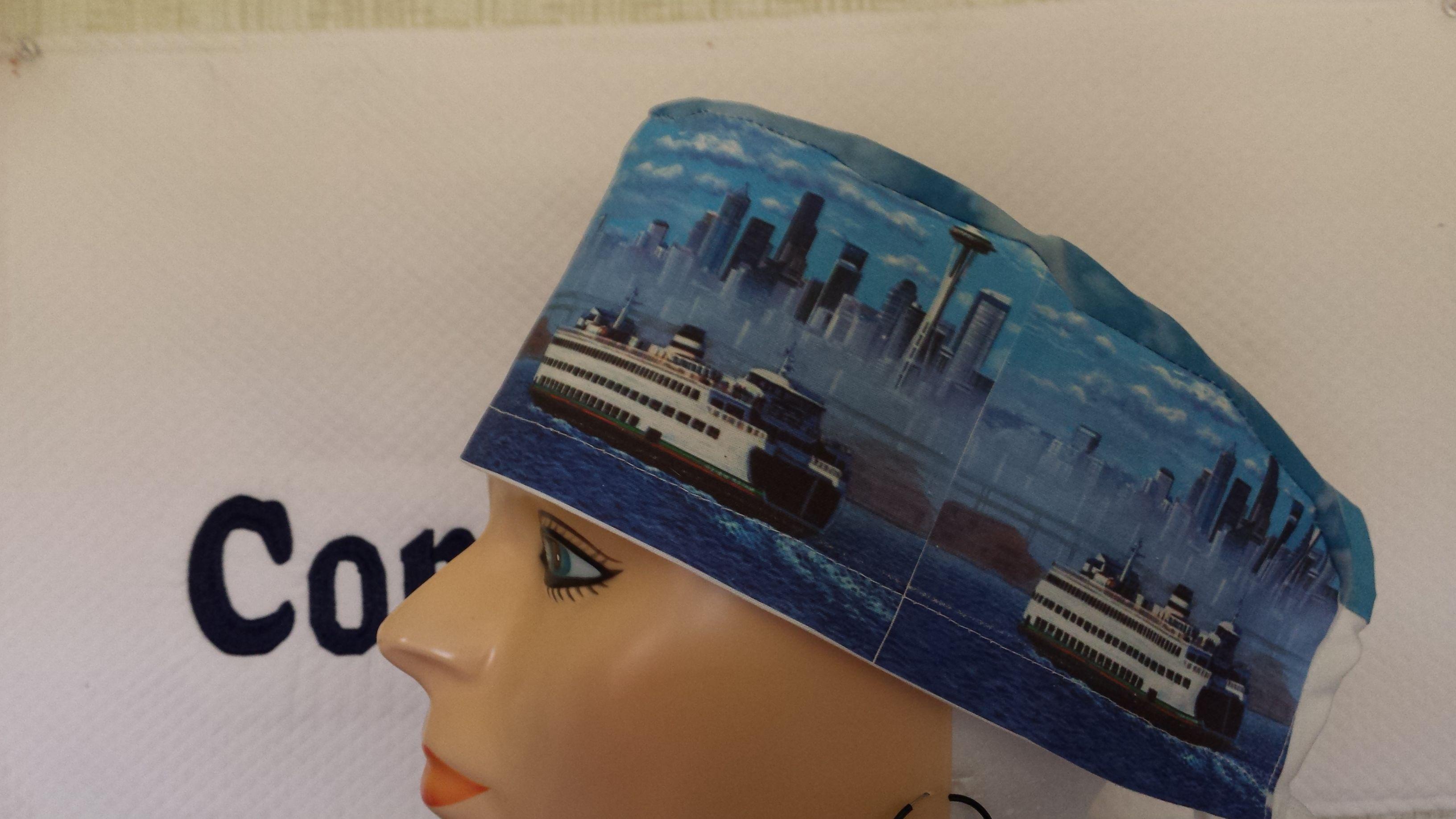 Male Scrub Cap Imprinted With A Ferry Boat Image Covering The Entire Reminiscent Of Used In Greys Anatomy Dr McDreamy