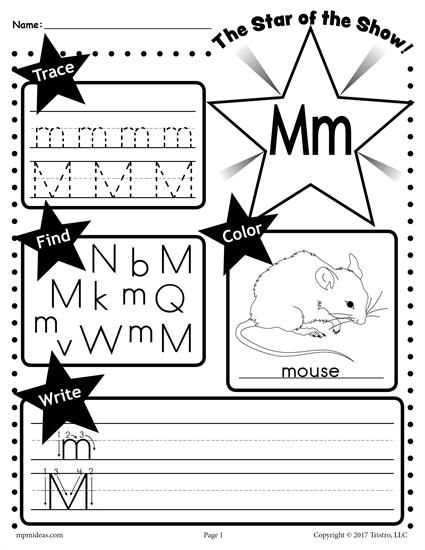 Free Letter M Worksheet Tracing Coloring Writing More