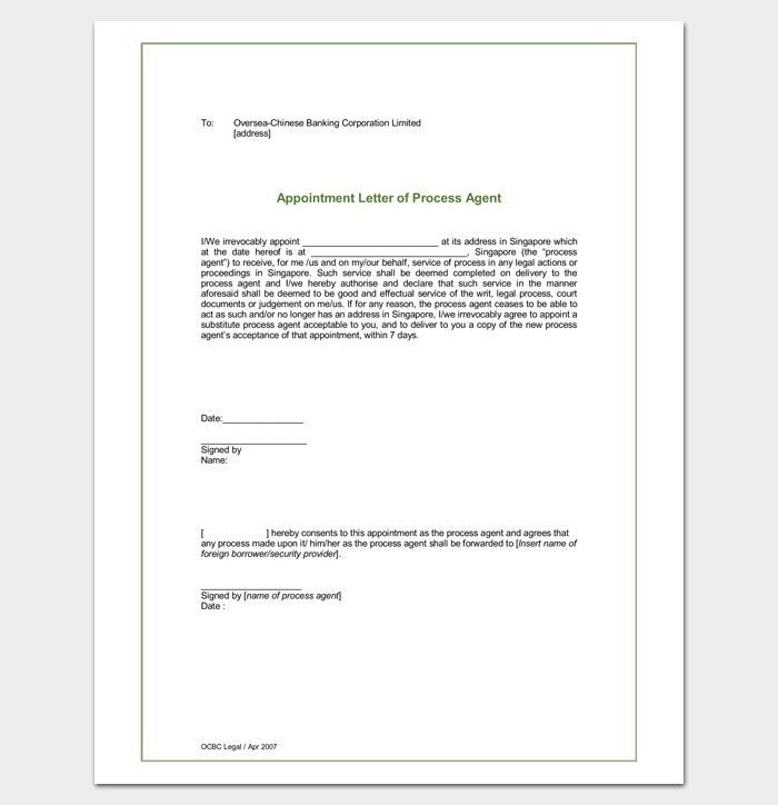 Sample Process Agent Appointment Letter Format  Letter Templates