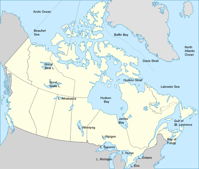 map of Canada with water labeled CC Challenge A Pinterest