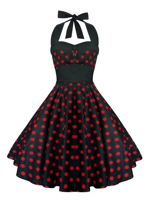 ad1a50f3d8d99 Plus Size Black and Red Polka Dots Dress Vintage Rockabilly Pin Up Dress  50s Retro Gothic Clothing S