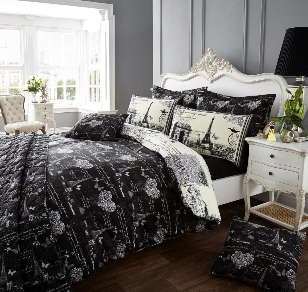 Black And White Eiffel Tower Bedding