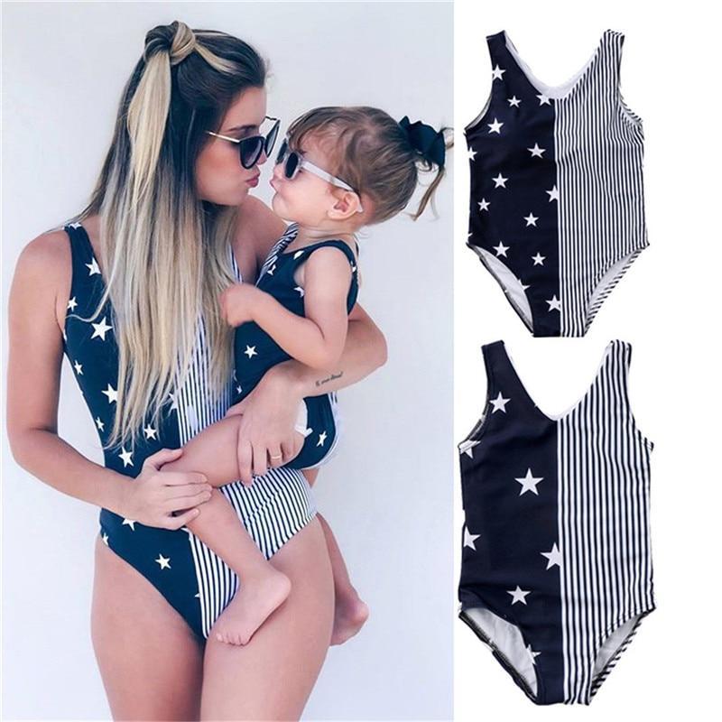 d622a6b9d27 Mother and Daughter Women Baby Girls Striped Swimwear Bikini Beachwear Swimsuit  Bikini Beach Costume