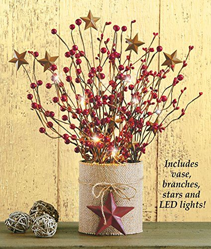 Lighted country berry branches primitive table decor collections etc http www amazon