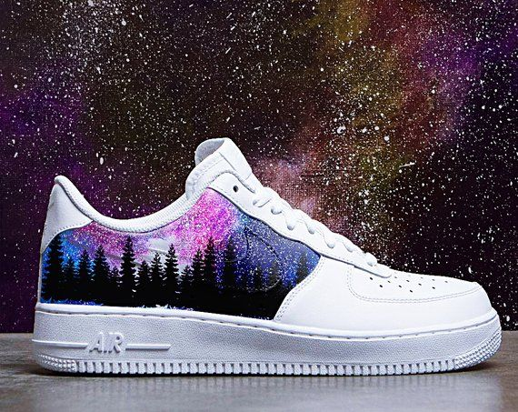 1ff30d64214fe Galaxy Pine Forest Custom Nike Air Force one, custom sneakers ...