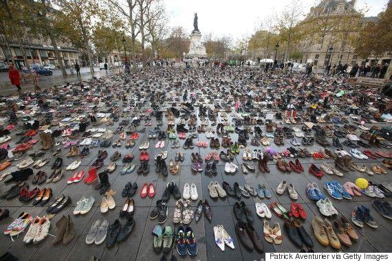 Thousands Leave Shoes In Paris To Symbolize Banned Climate March Paris Protests Photo Paris Terror Attack