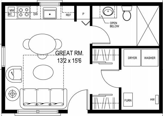 Floor Plans For Small Houses floor plan a small contemporary house in double storey design 137 Grandpas Cabin 396 Sq Ft Small House Floor Plan Sidekick Homes 396 Sq Ft Grandpas Cabin