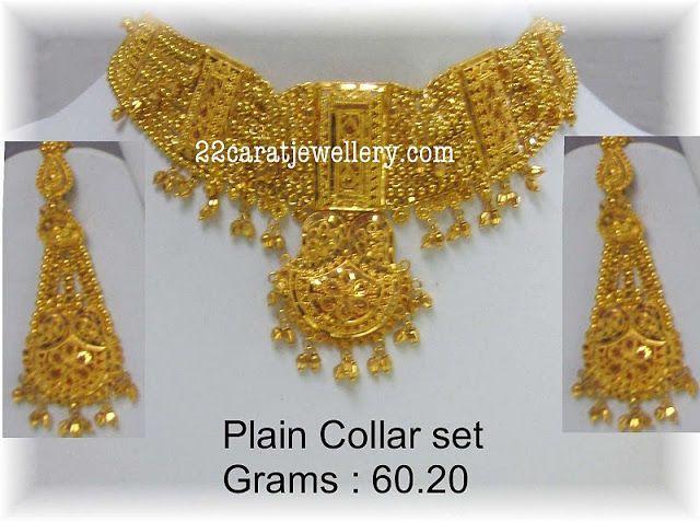 65a84f1db74 Plain Gold Bridal Necklace (60 grams) - Jewellery Designs