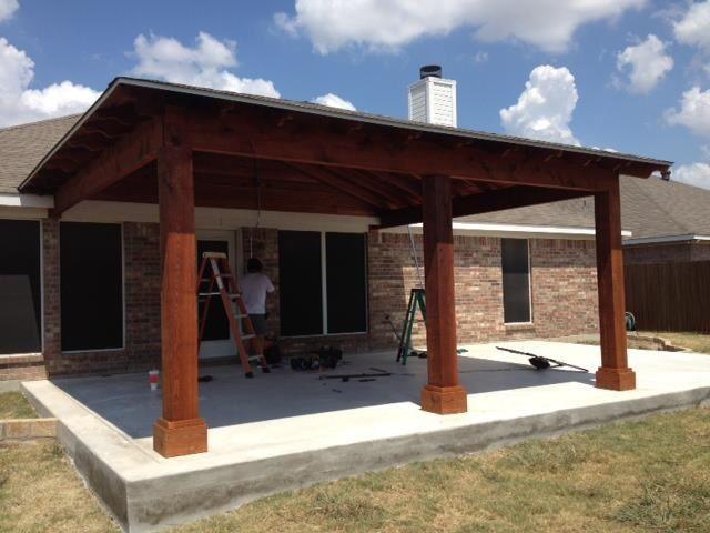 Attached Cedar Covered Porch Patio Design Outdoor Patio Decor