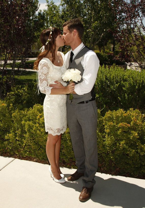 Short Wedding Dress with Open Back, Short Lace Dress
