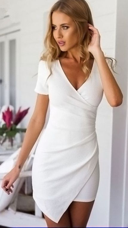 V-neck Short Sleeves Irregular Sexy Short Dress More. Solid Color ... e92b61937