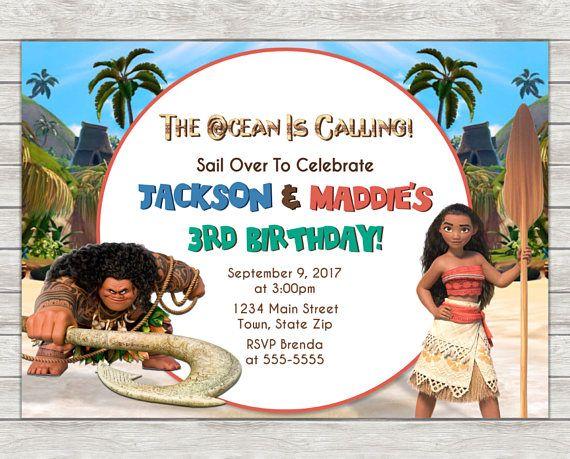 Photo Invitations Invitation Wording Digital Invite Moana Birthday Party 6th