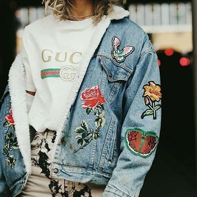 abdfec6f4 Patched denim jacket, Gucci T-Shirt, Blogger style, fashion blog, street  style, how to style denim jacket | Fashion & Lifestyle Blog | JAMIALIX.