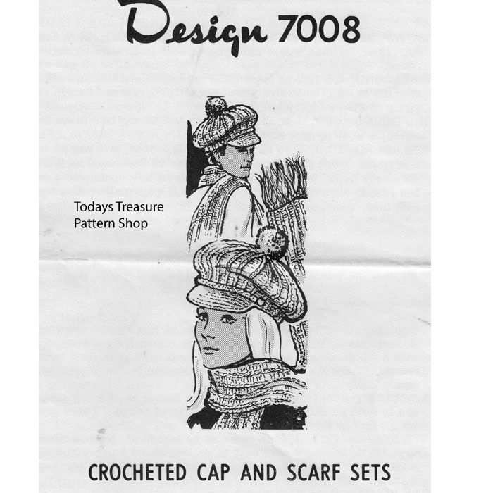 Crochet Hat pattern is a His and Hers design for a visor cap and matching scarf ... pompon optional.   It's Mail Order Design 7008 from Vintage Knit Crochet Pattern Shop, in PDF format.