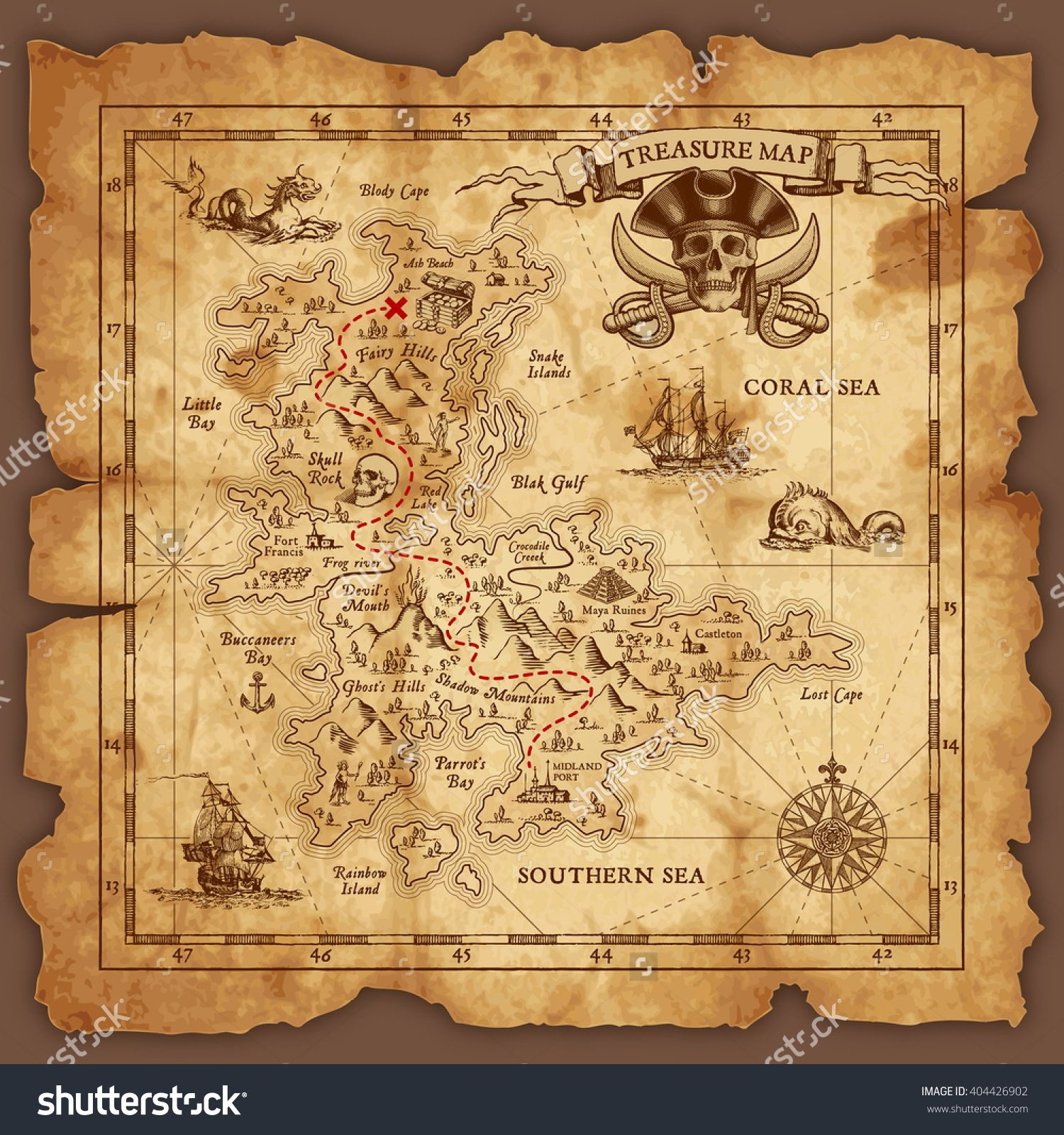Vector super detailed pirate treasure map on a ruined old vector super detailed pirate treasure map on a ruined old parchment all elements are organized stopboris Gallery