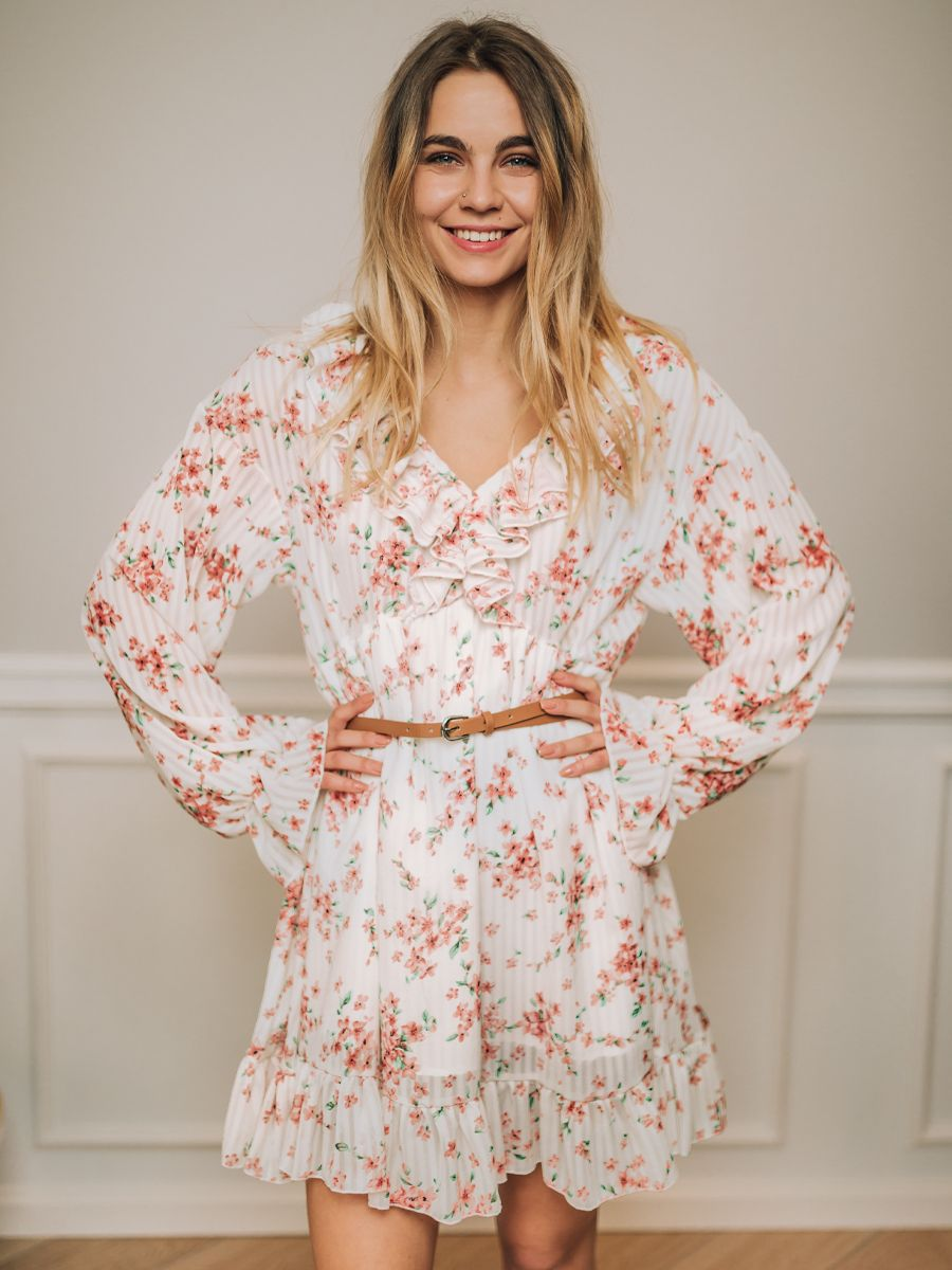 Sukienka Florinda Biala W Kwiaty Fashion Robe