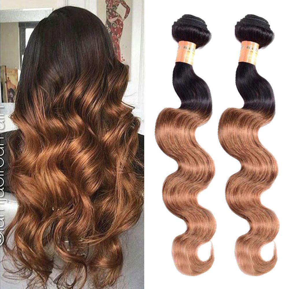 "300g 20"" Real Human Hair Extension 3Bundles Ombre 1B/30"