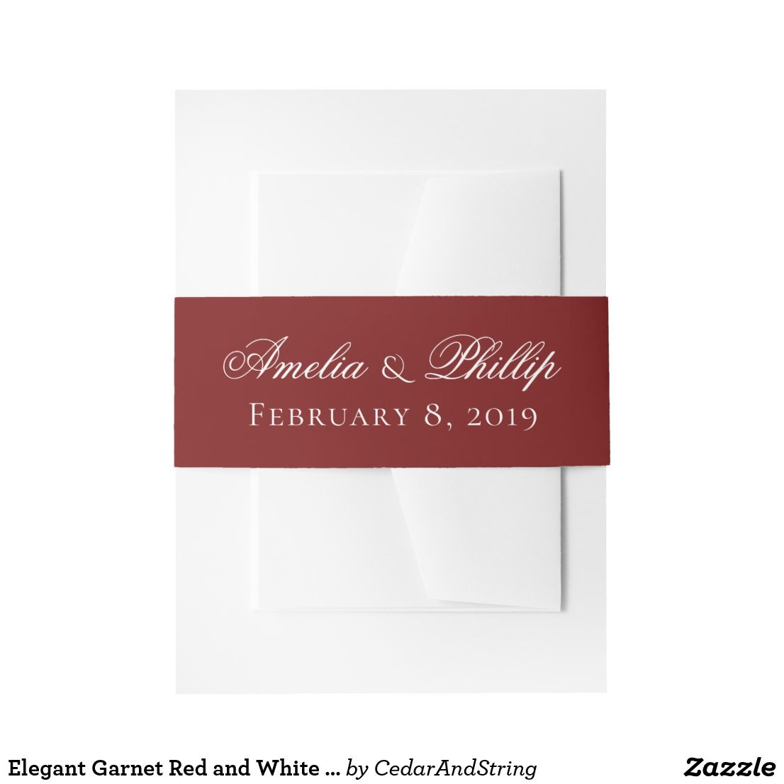 Elegant Garnet Red and White Wedding Invite Bands Invitation Belly ...