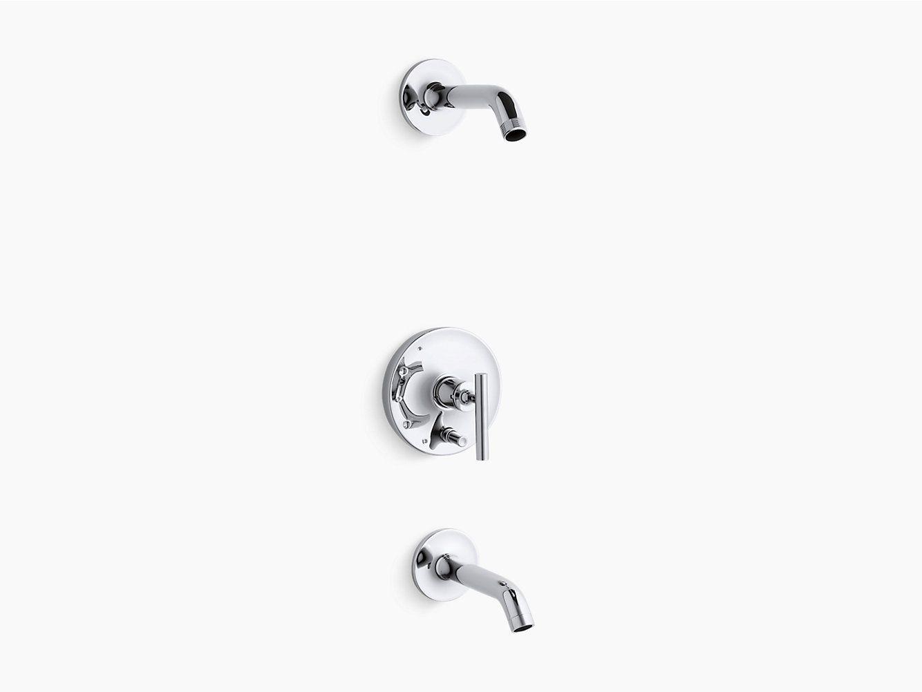 K T14420 4l Purist Rite Temp Bath And Shower Trim Set Lever