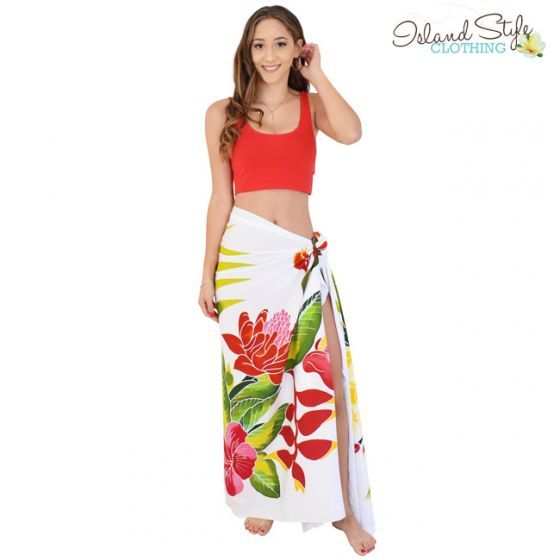 6ced8c09af794 Sarong White ORCHID Hand-Painted Floral Pareo Hawaiian Print + Coconut  Clip. Stunning Ladies